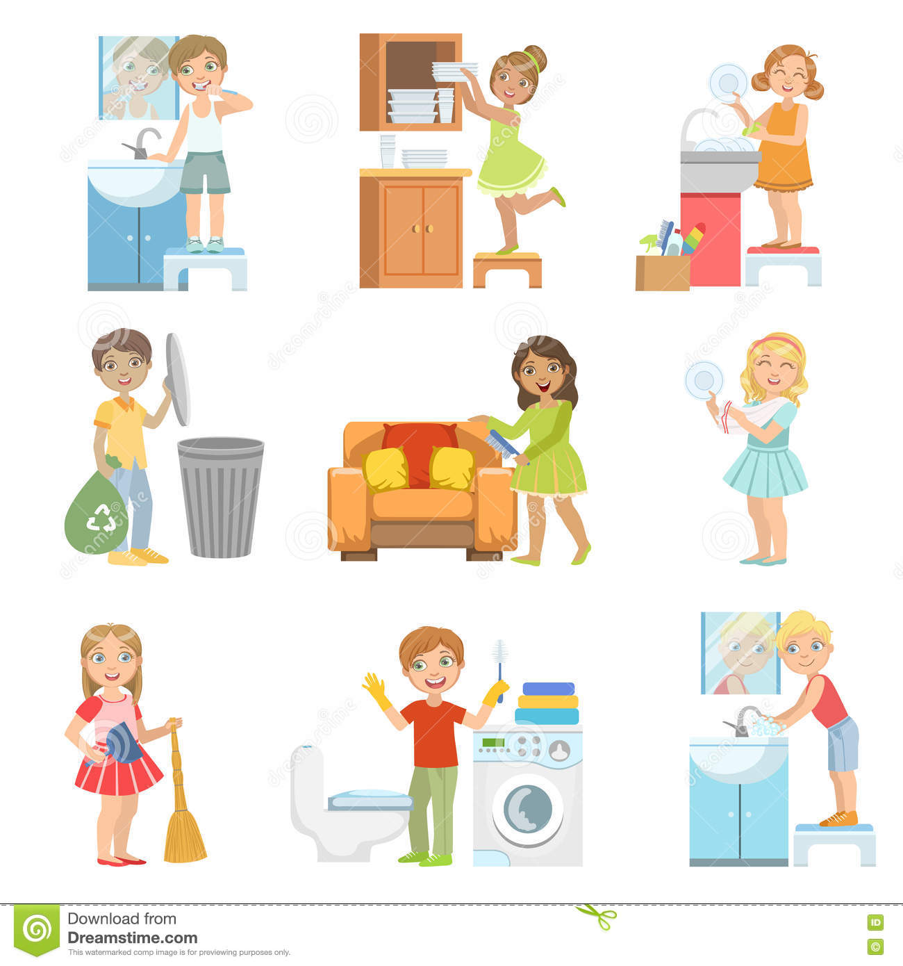 Kids Doing A Home Cleanup stock vector. Illustration of ...
