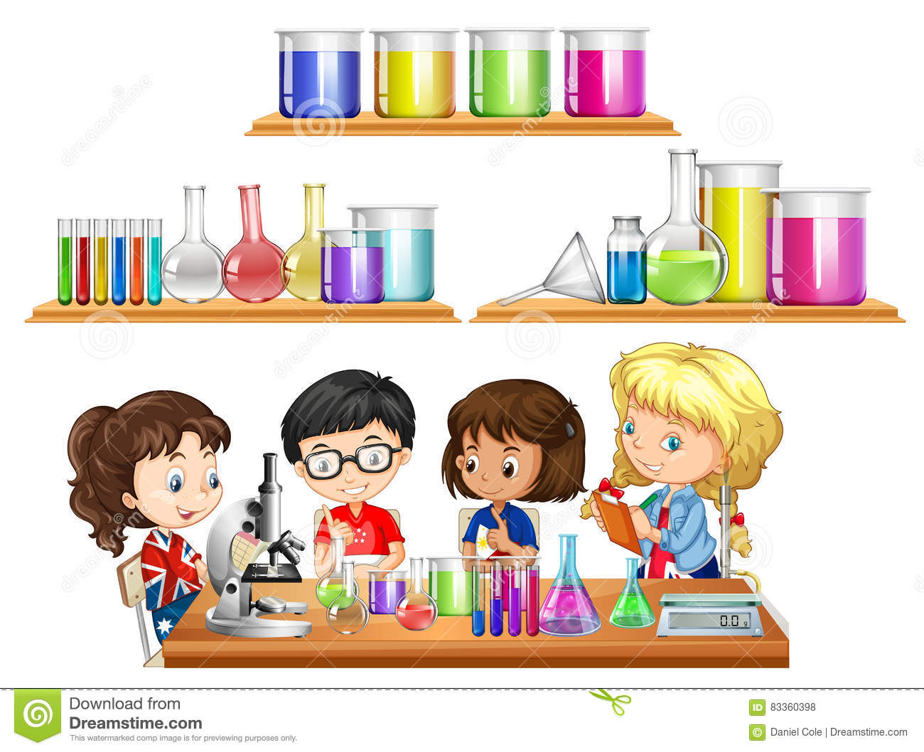 Kids Doing Science Experiment And Set Of Beakers Vector