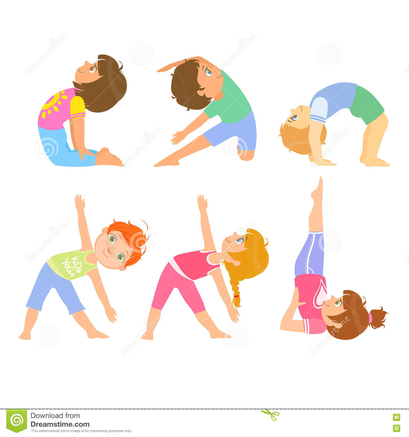 Kids Doing Simple Yoga Poses Stock Vector Illustration Of Oriental Colorful 72199263