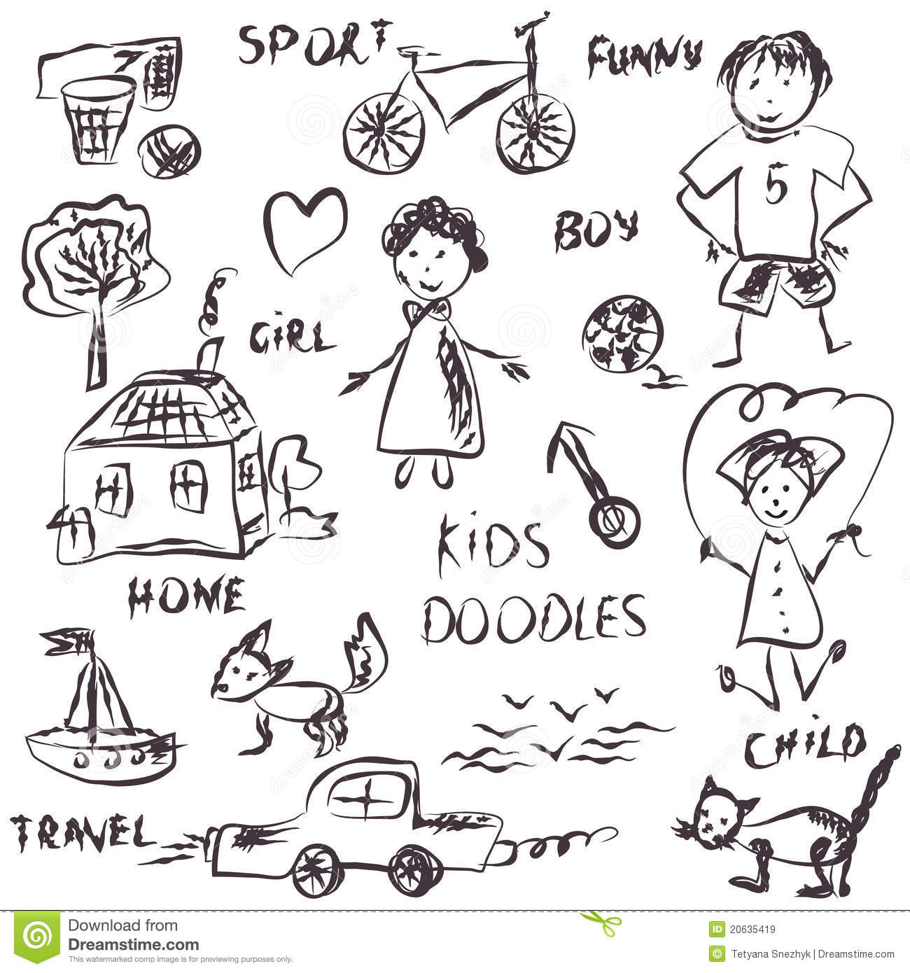 Kids Doodles Cartoon Royalty Free Stock Images Image