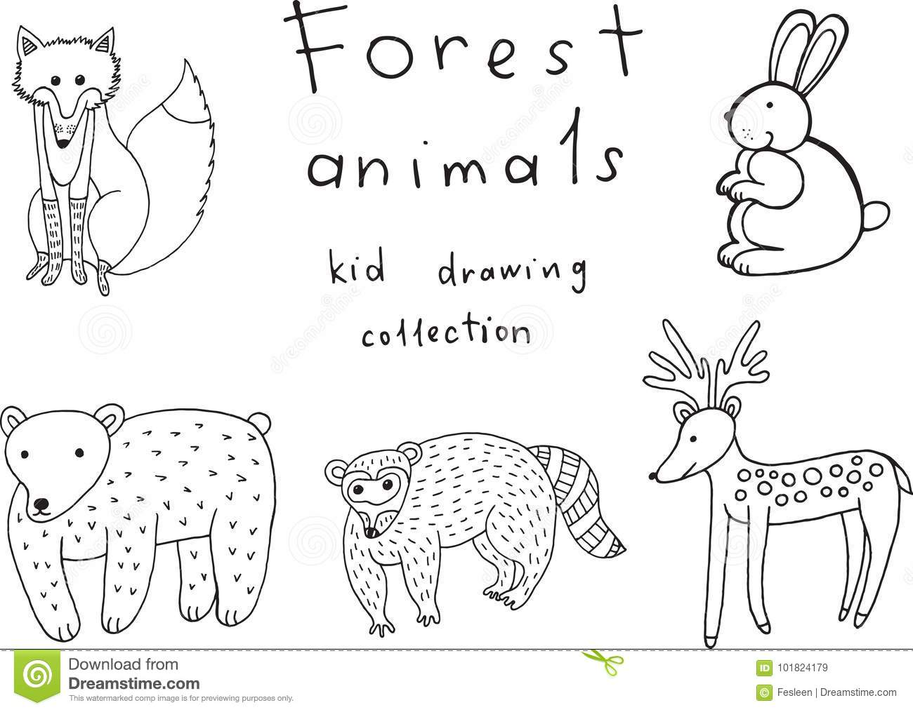 Kids Drawing Of Animals. Doodle Collection Of Funny Coloring Page ...
