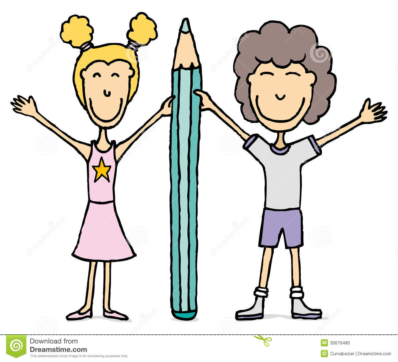 Kids Drawing / Boy And Girl Holding Big Pencil  Stock Illustration
