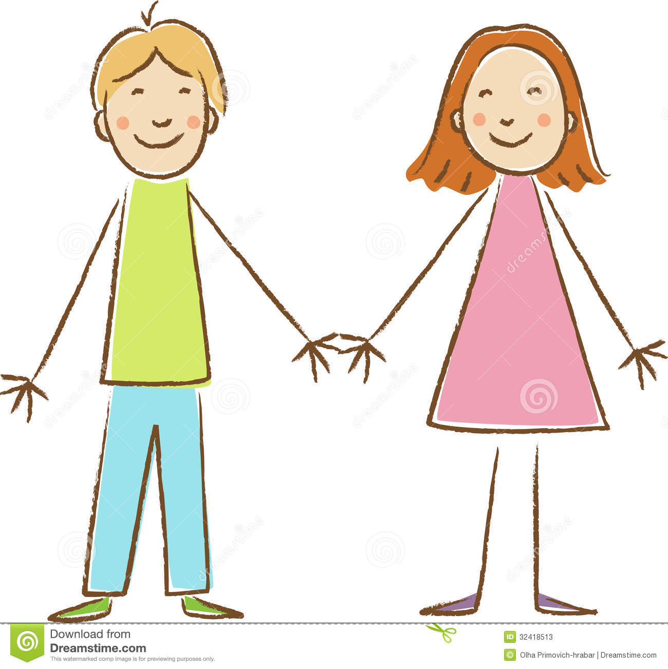 Kids Drawing  Boy and girl stock illustration  Illustration of