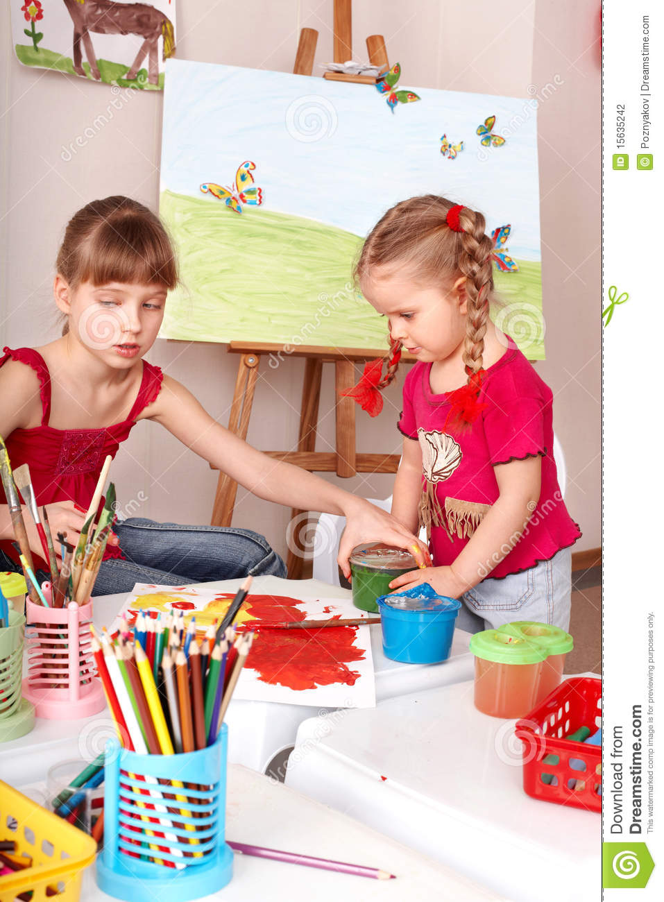 Kids drawing colour pencil in play room stock photography image 15635242 - Kids room image ...