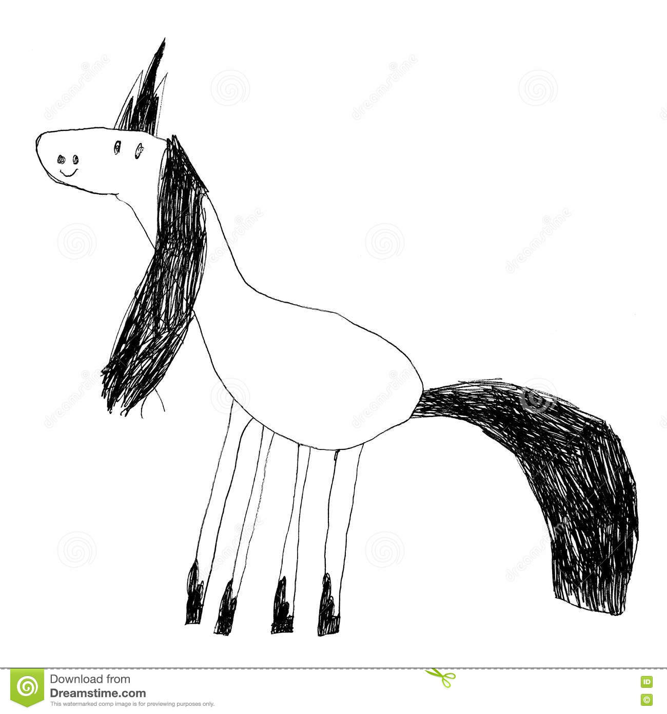 Kids drawing of a cute magic unicorn