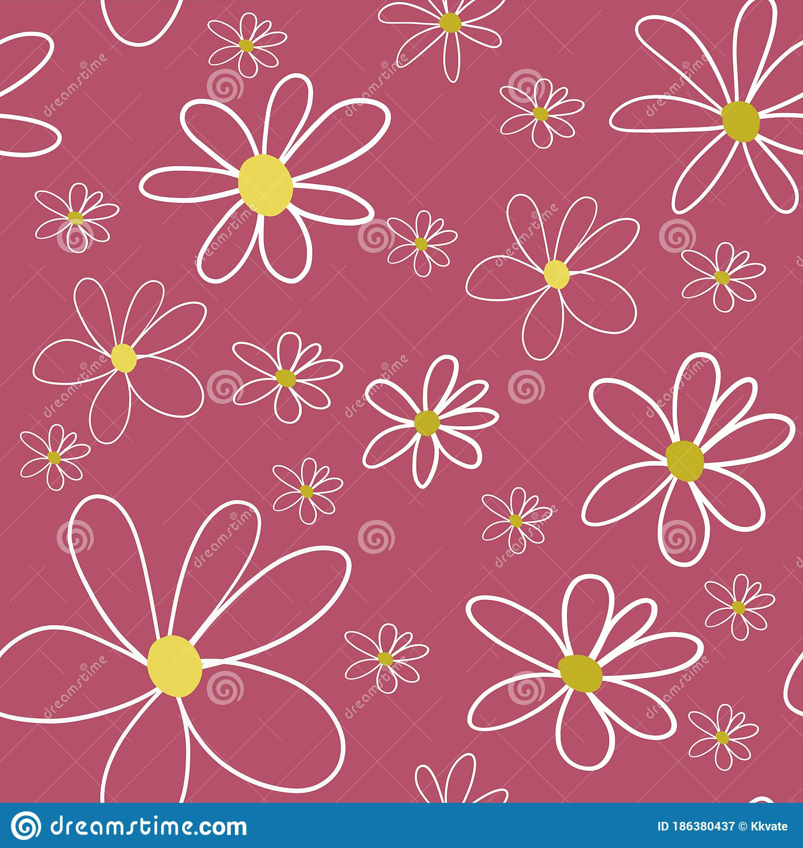 Kids Drawing Daisies On Red Background Seamless Pattern Linen Print Packaging Wallpaper Textile Fabric Design Stock Illustration Illustration Of Floral Print 186380437