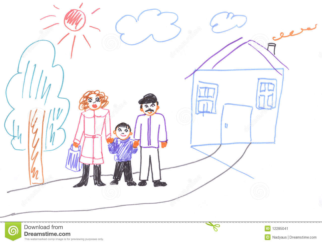 Kids Drawing Of Family Stock Image - Image 12285041