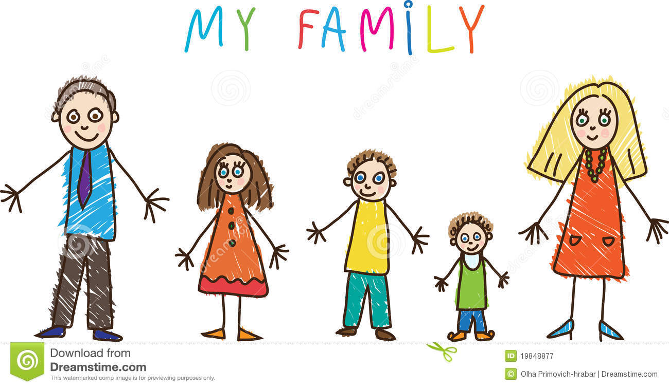 Kids Drawing Family Royalty Free Stock Photography Image 19848877