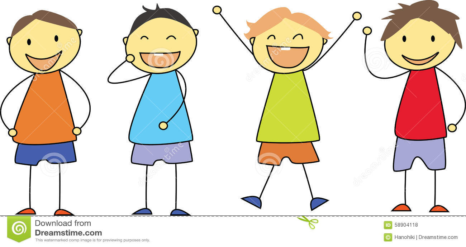 Kids Drawing - Happy Children Smiling Stock Vector - Image: 58904118