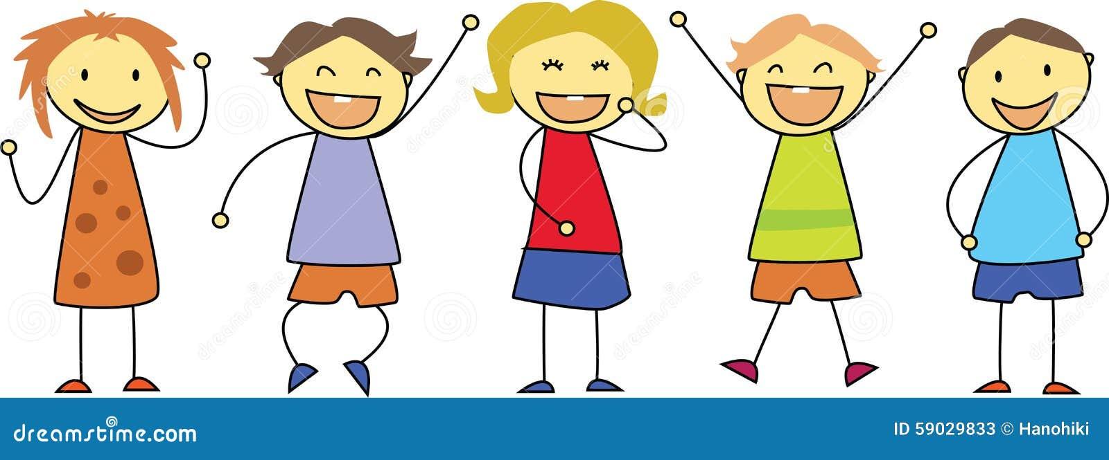 Kids Drawing - Happy Children Smiling Stock Vector - Image ...