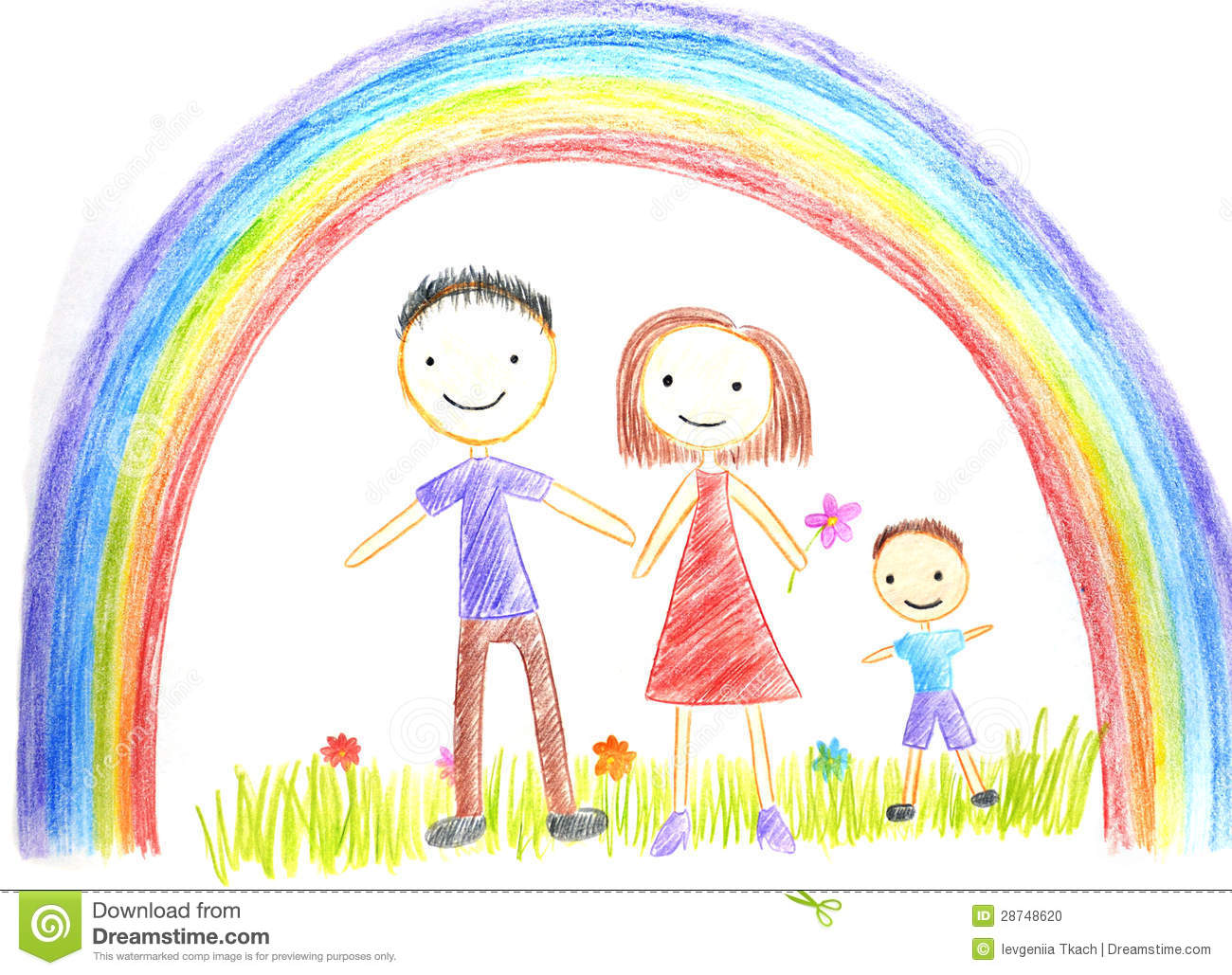 Kids Drawing Happy Family Stock Illustration. Illustration Of Group - 28748620