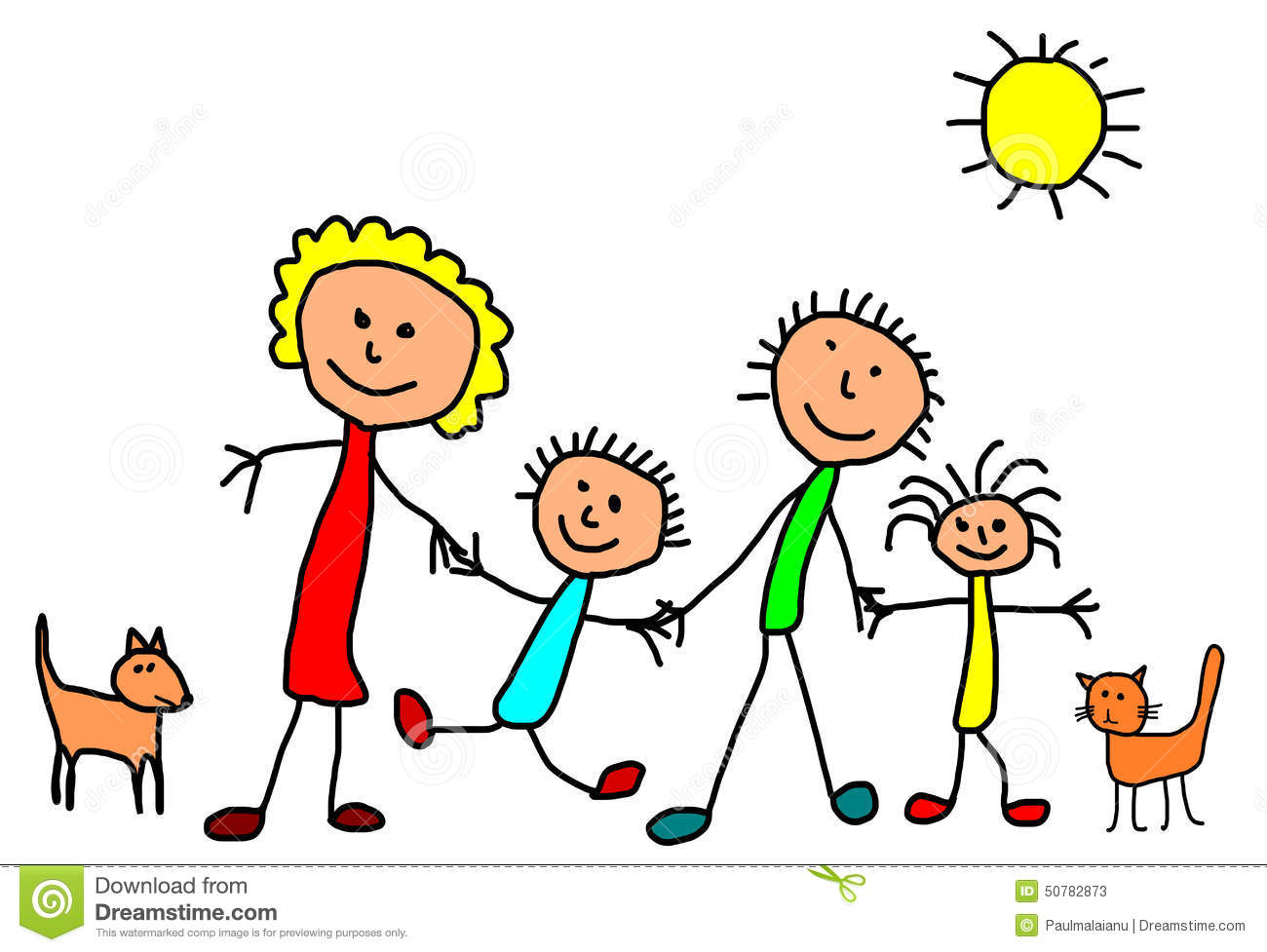 Kids Drawing Happy Family Stock Illustration Image 50782873