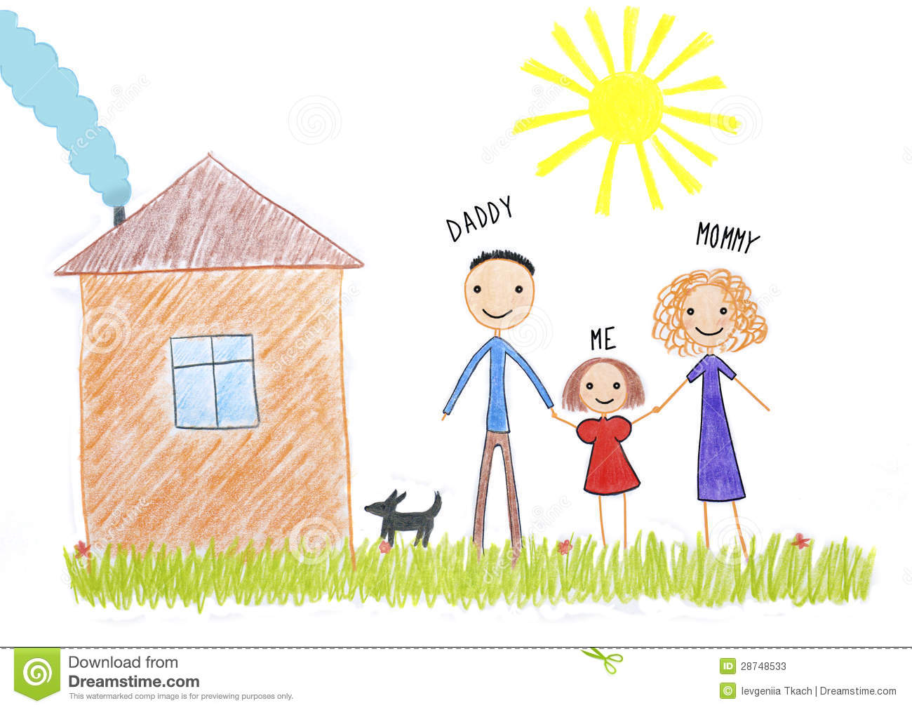 kids drawing happy family near their house 28748533