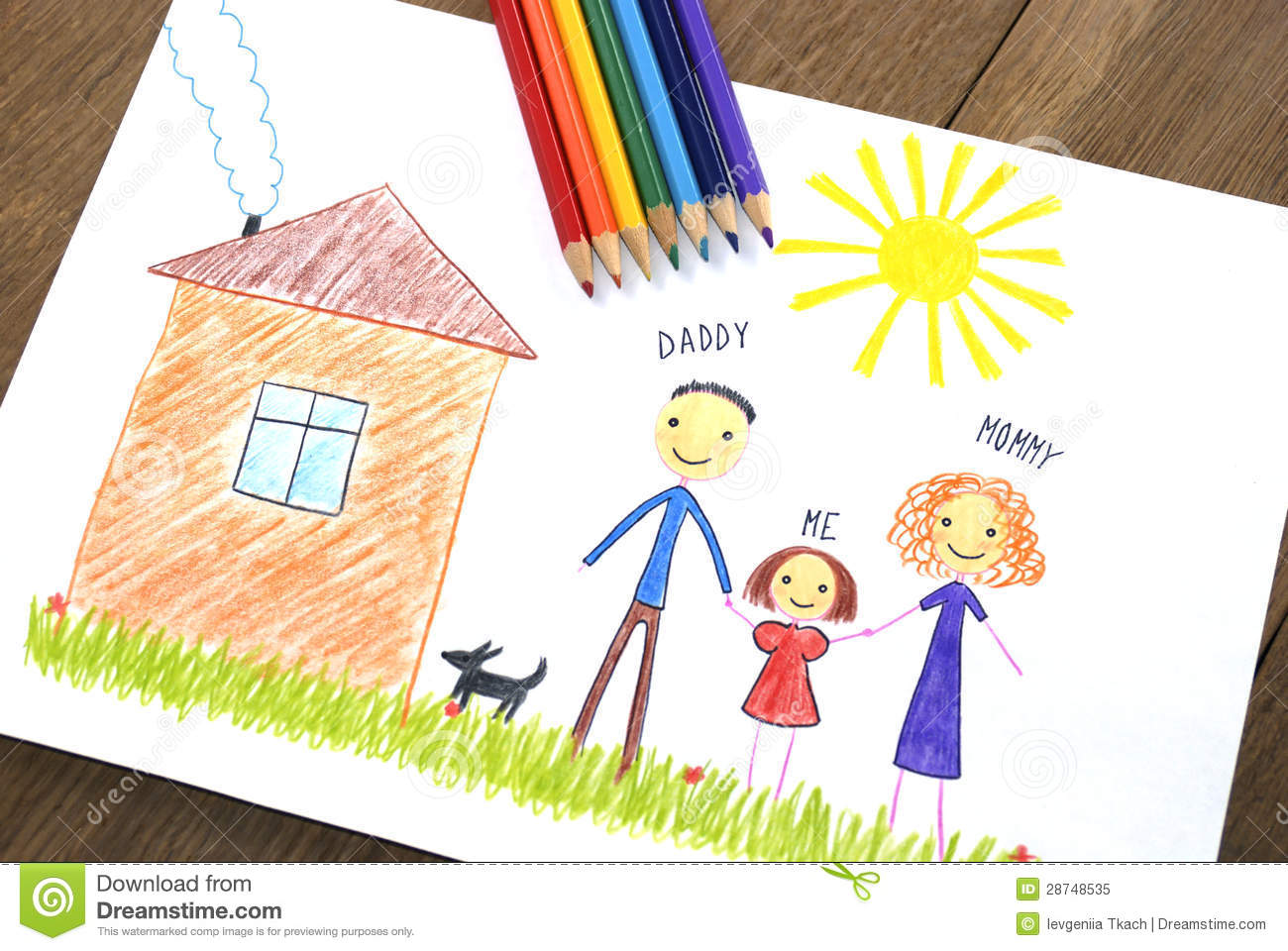 kids drawing happy family near their house royalty free stock photo - Kids Free Drawing