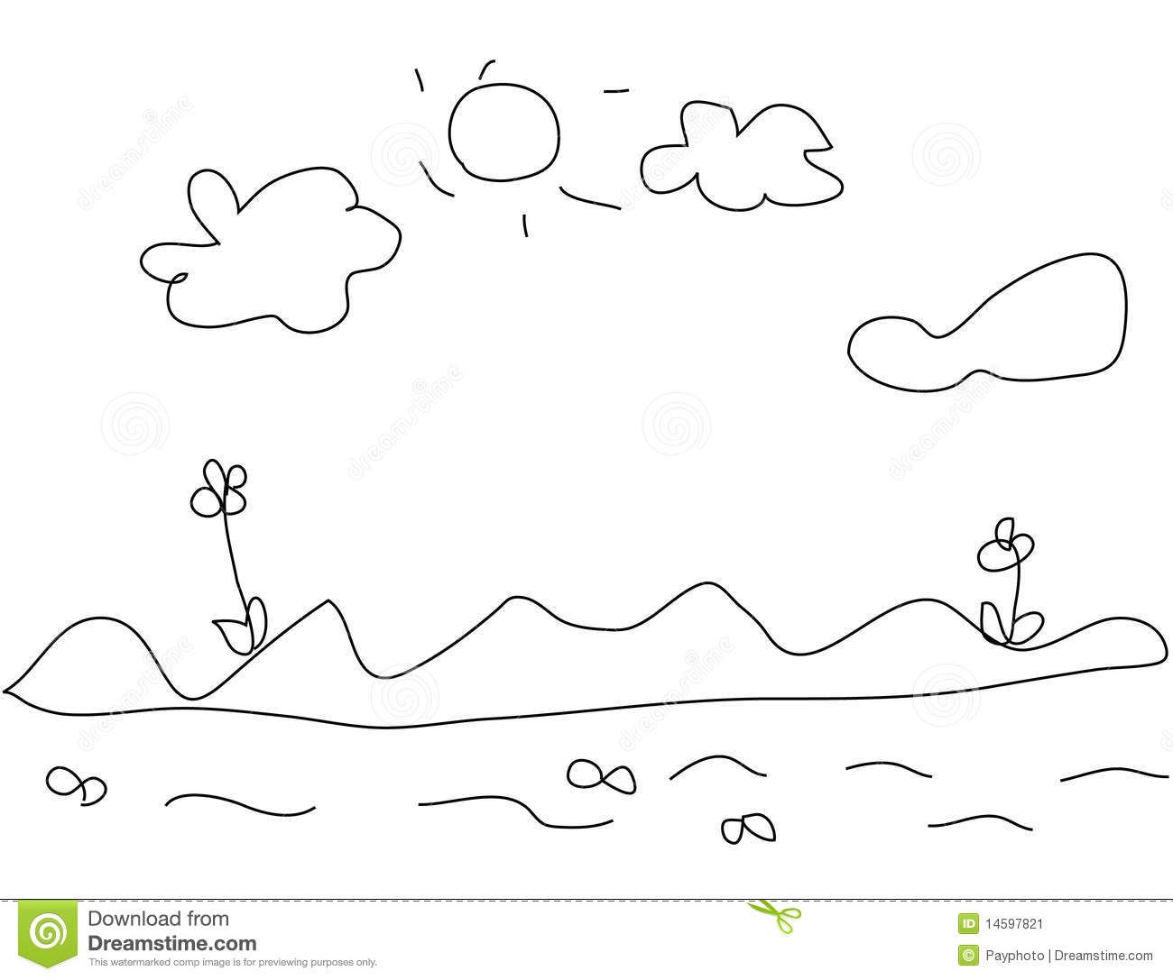 Kids drawing of landscape stock vector. Image of pencil ...