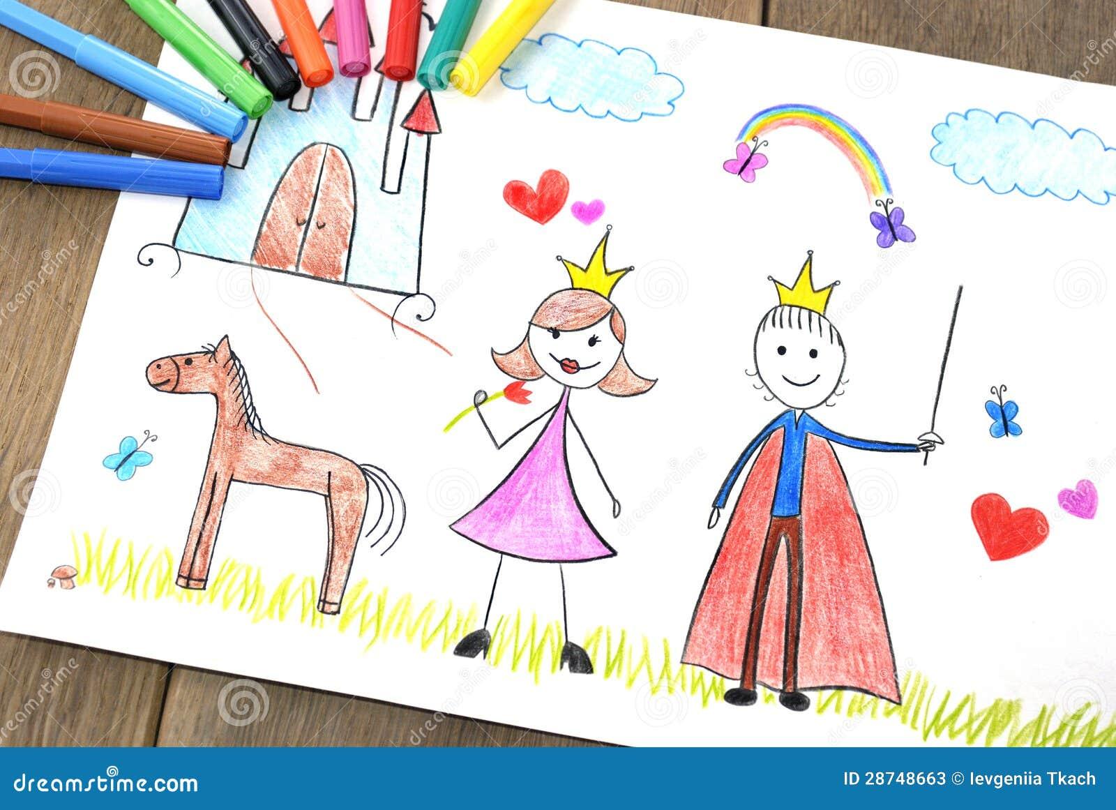 Kids Drawing Princess And Prince Stock Illustration