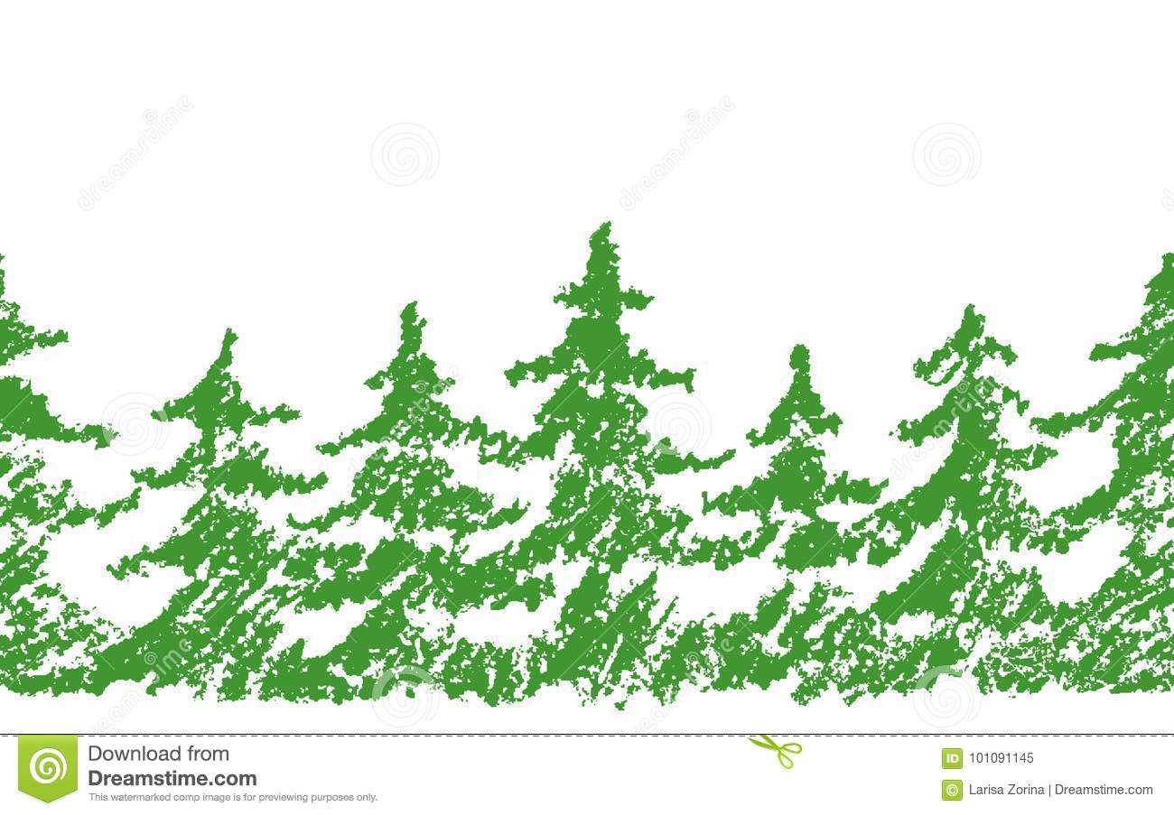 Crayon Child`s Drawing Merry Christmas Tree Pattern On White. Hand ...