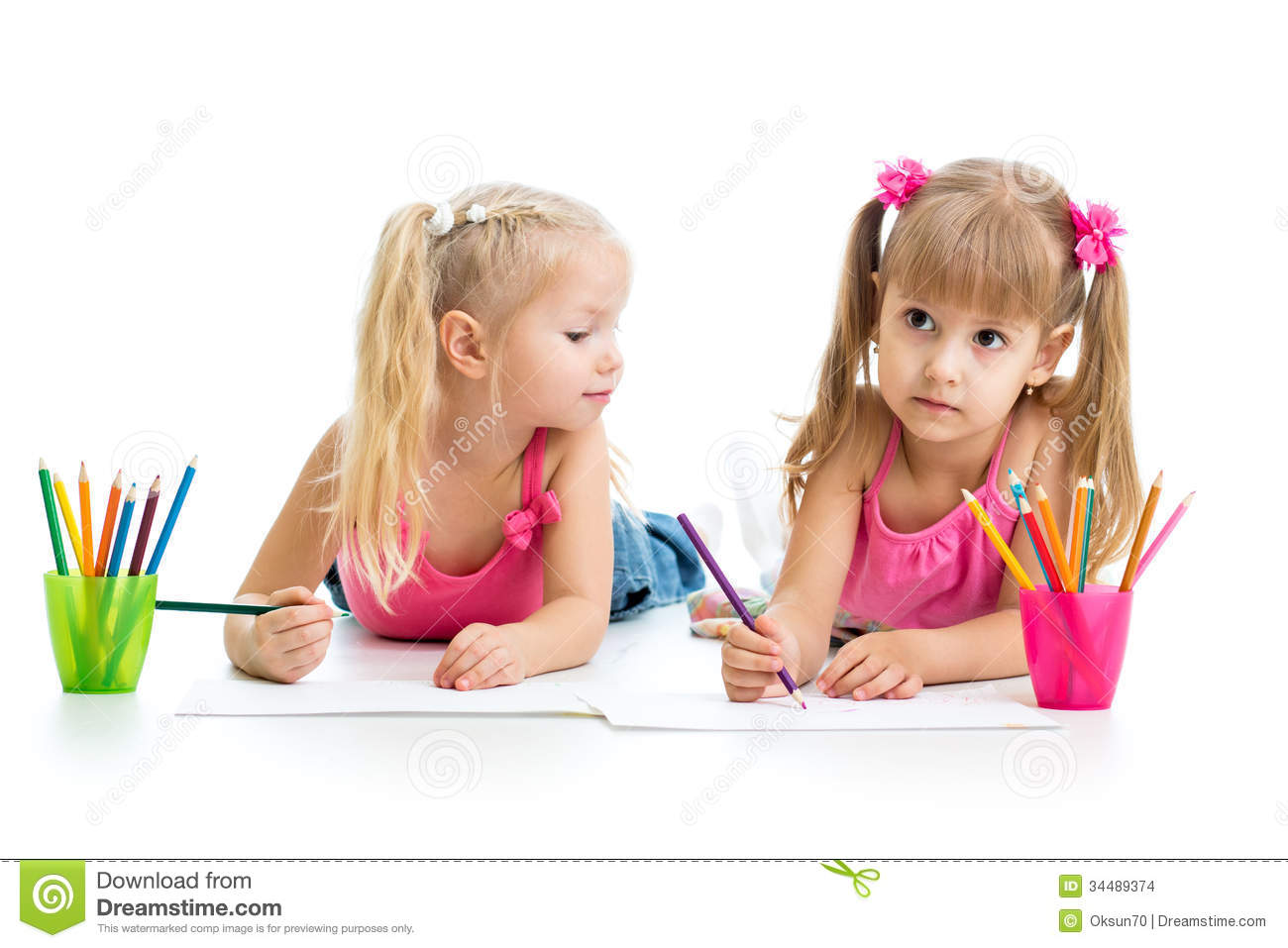 kids drawing together stock images - Images Of Kids Drawing