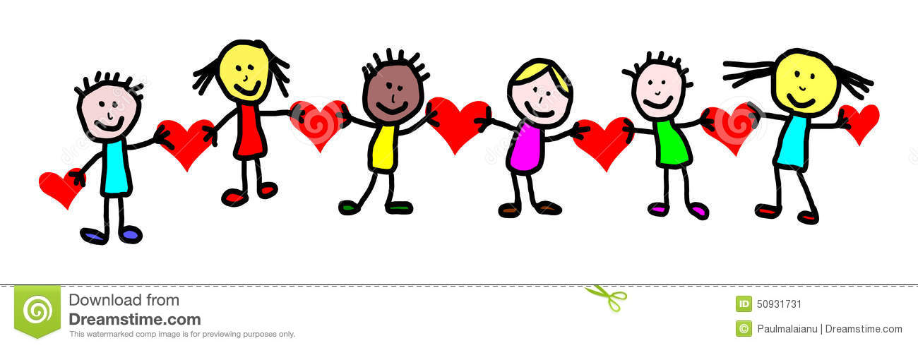 Kids Drawing Valentines Day Stock Illustration Image