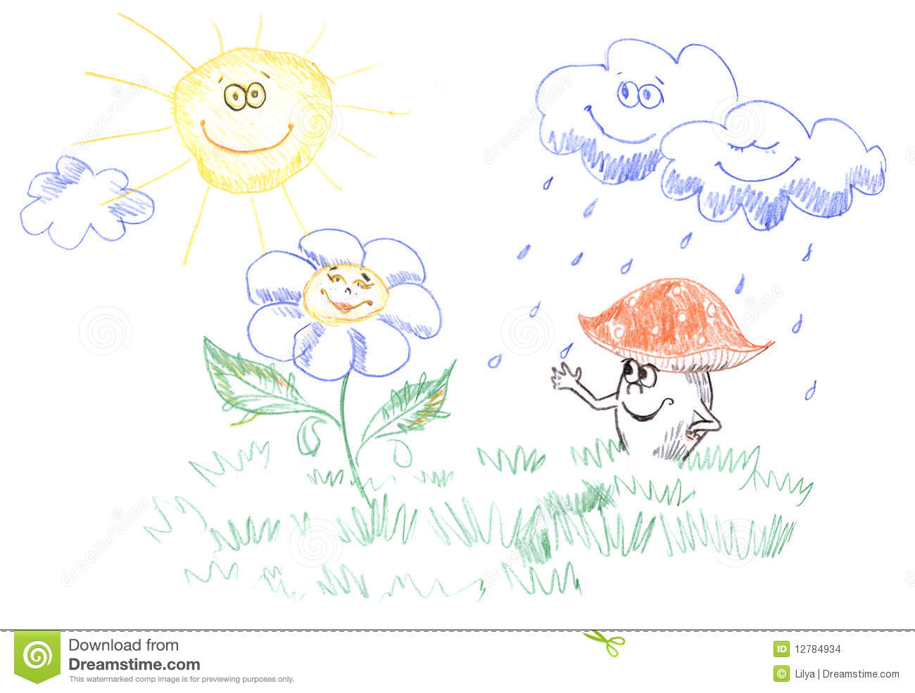 Kids drawing of weather stock illustration illustration of happy