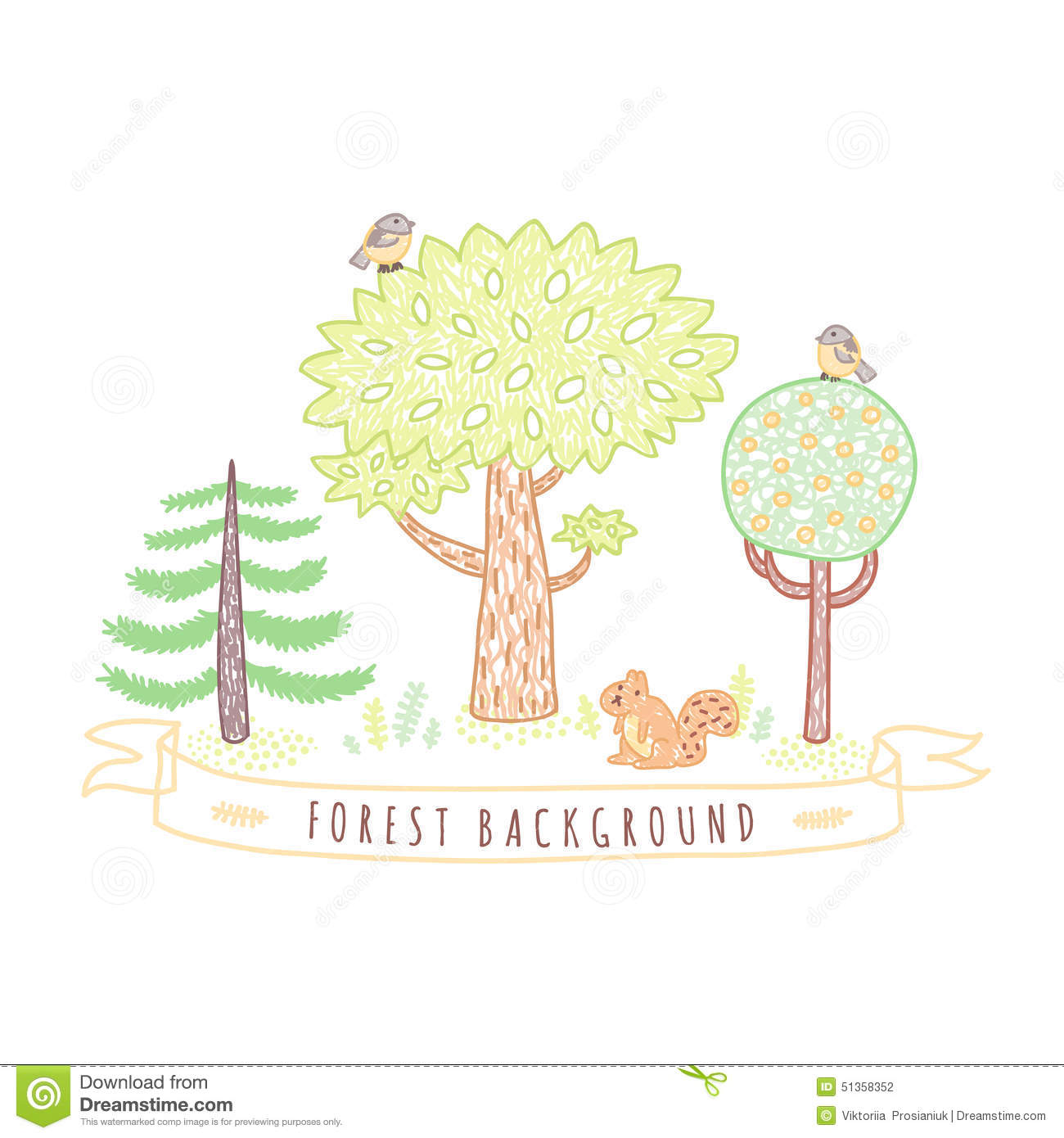 Kids drawings doodle style forest background with trees for Cute tree drawing