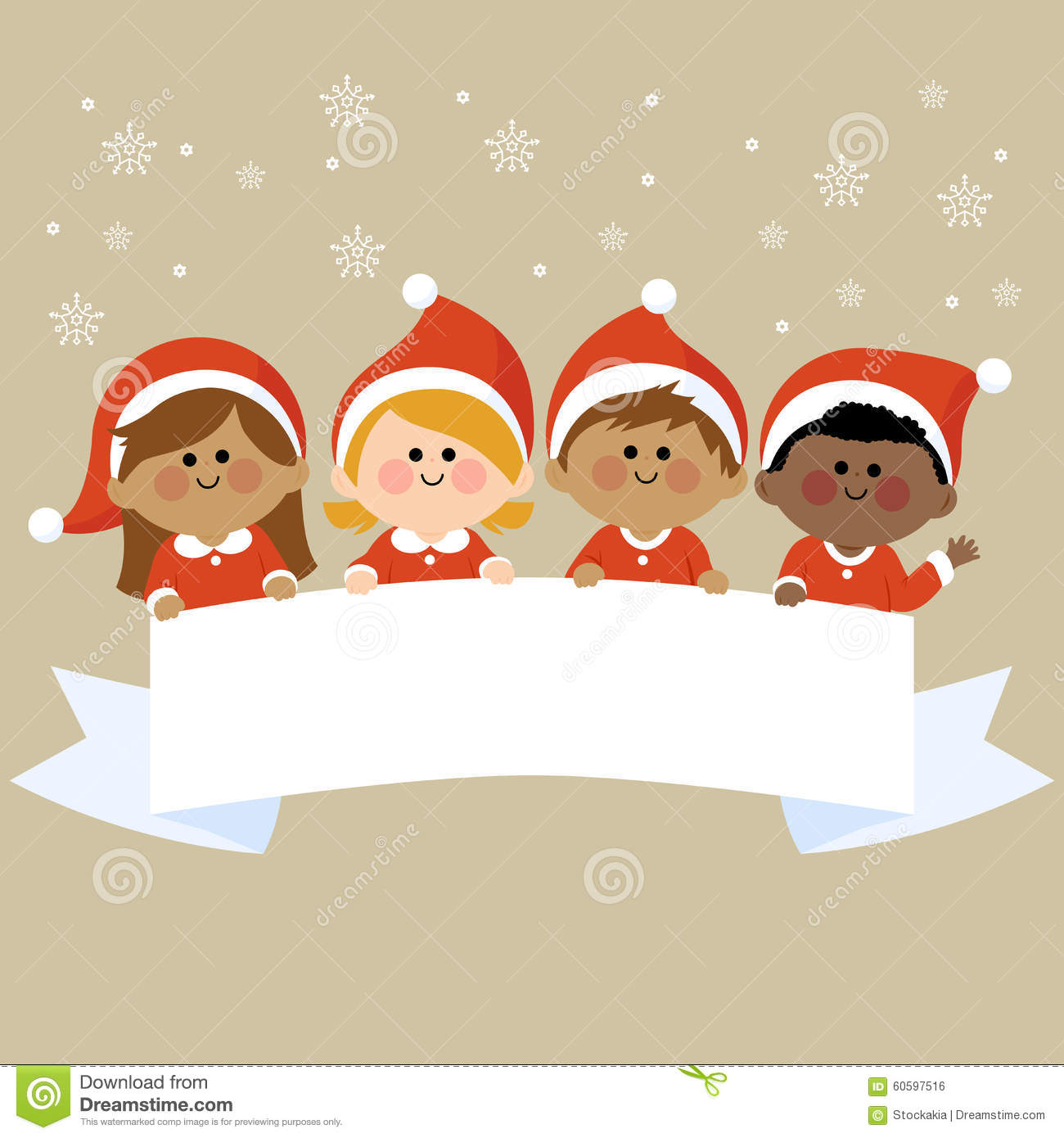 Kids Dressed In Christmas Costumes Holding Horizontal ...