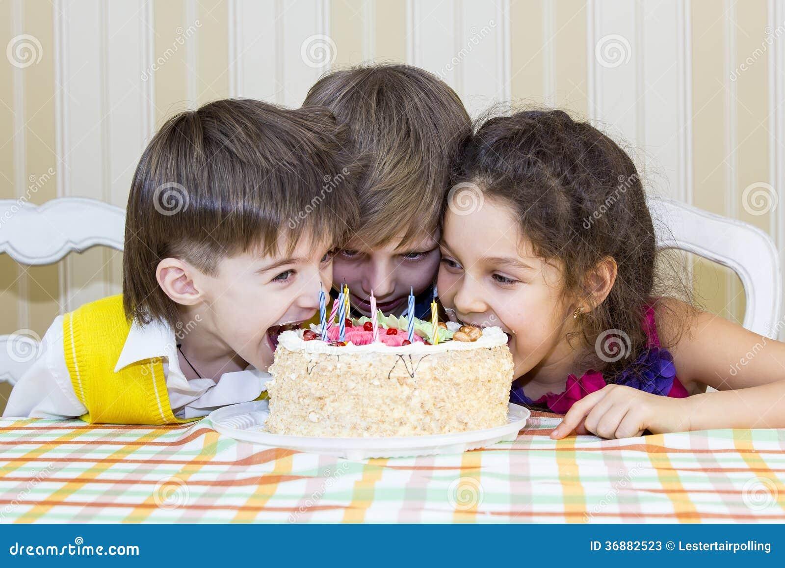 Happy Fat Kid Eating Cake