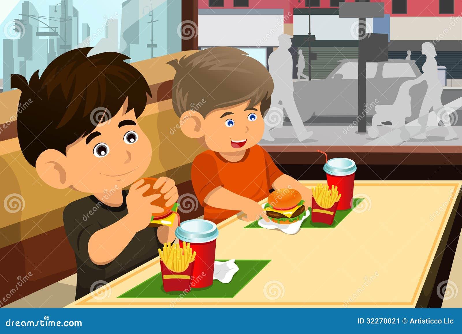 Kids Eating Hamburger And Fries Stock Vector ...