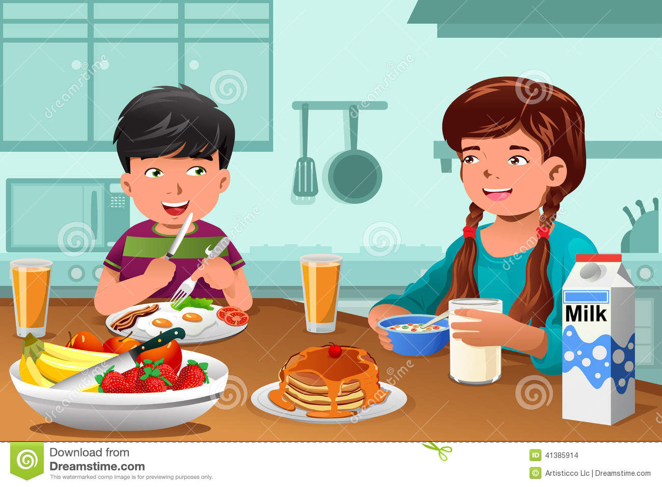 vector illustration of happy kids eating healthy breakfast at home Kids Eating Breakfast At School Clipart