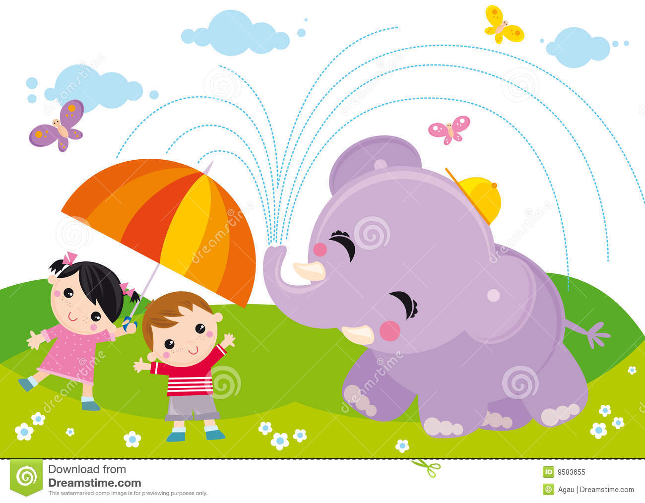 Kids And Elephant Royalty Free Stock Photo - Image: 9583655