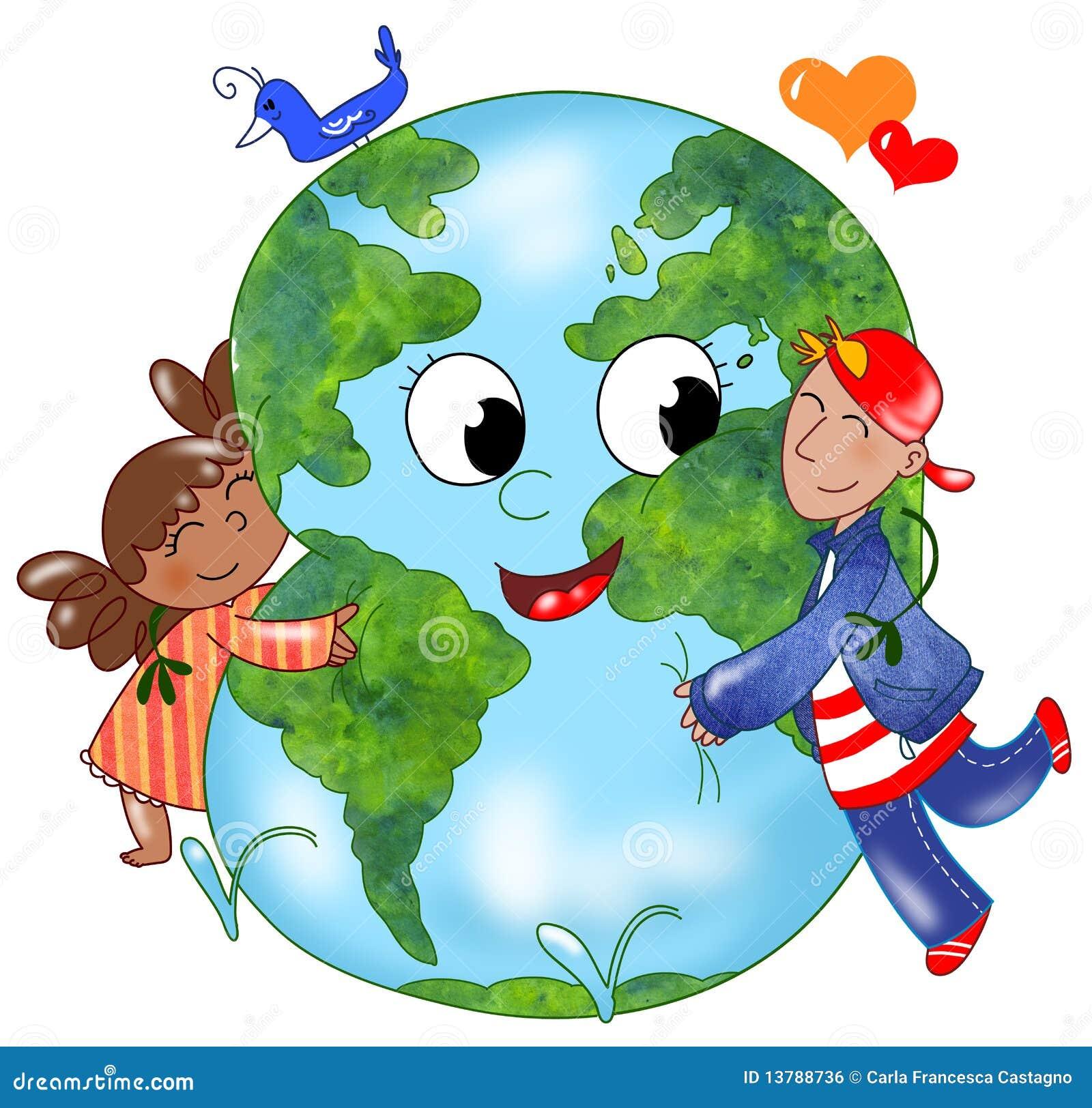 Kids embracing Earth
