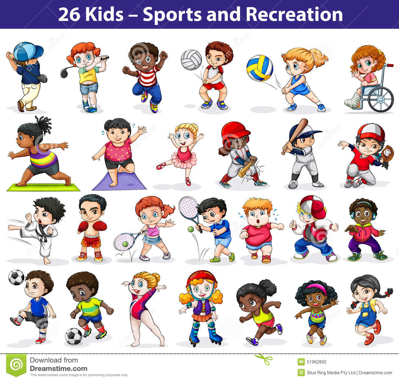 Kids Engaging In Different Activities Stock Vector Illustration Of