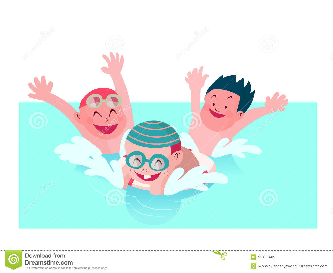 Kids enjoy playing together in swimming pool vector - Clipart piscine ...