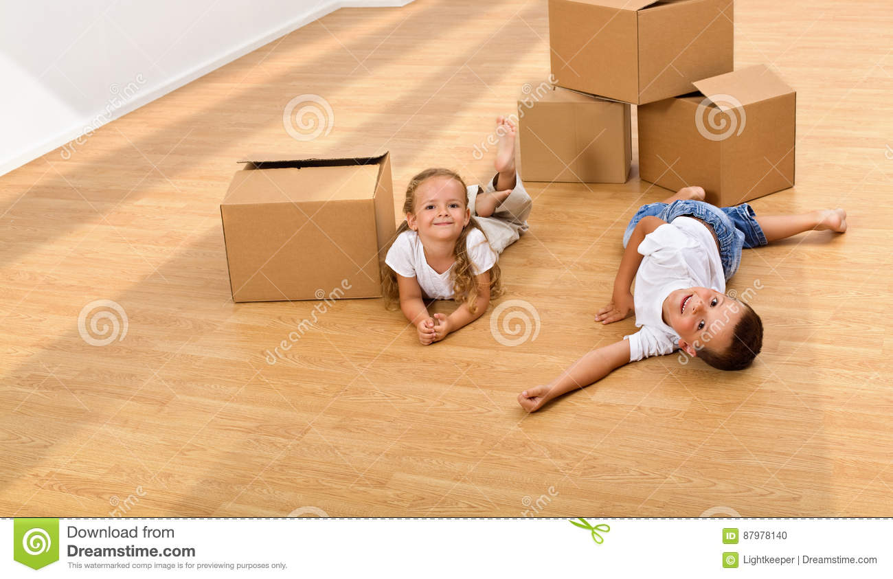 Kids enjoying large space in their new home