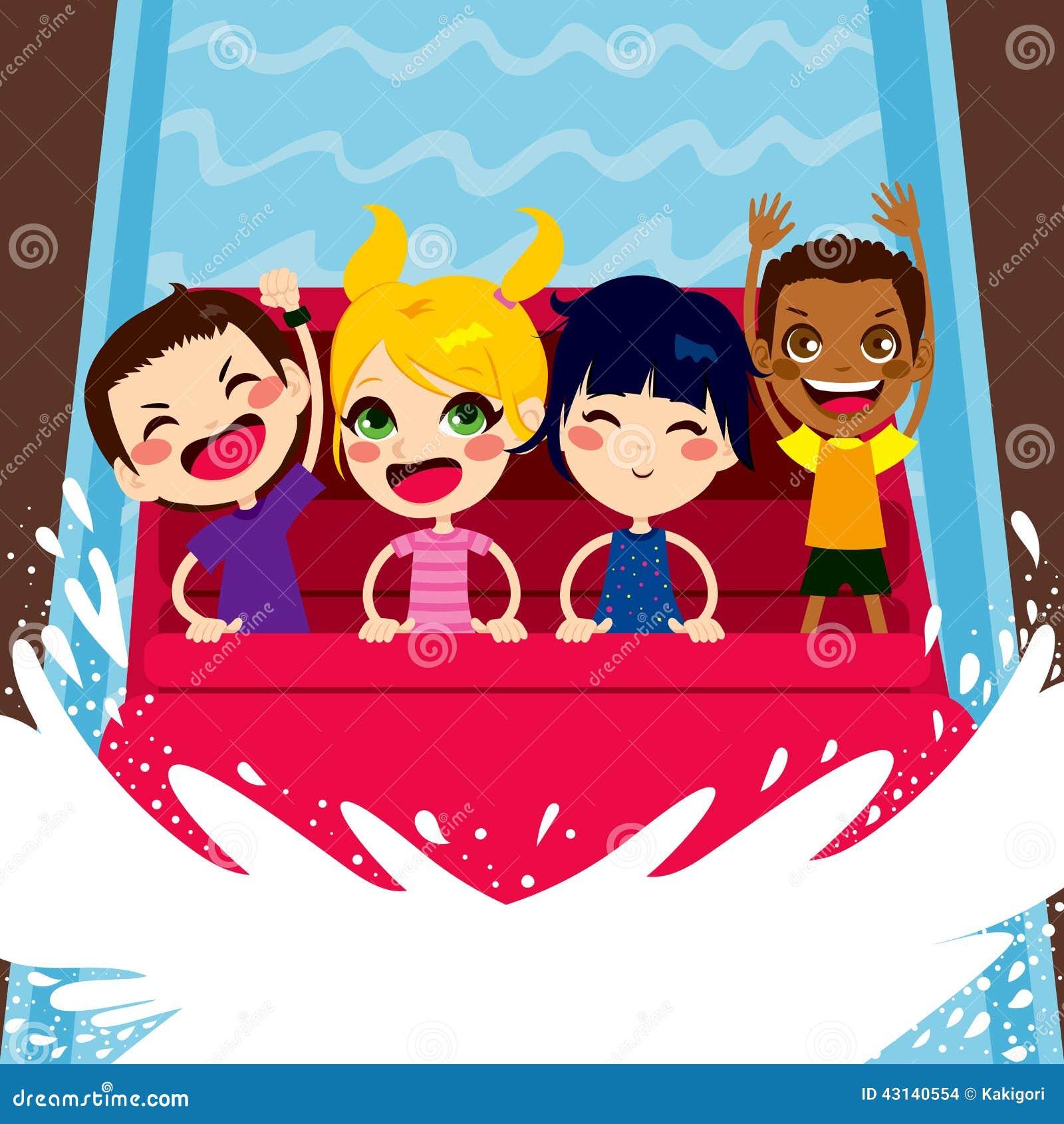 Kids Enjoying Water Boat Ride Stock Vector Image 43140554