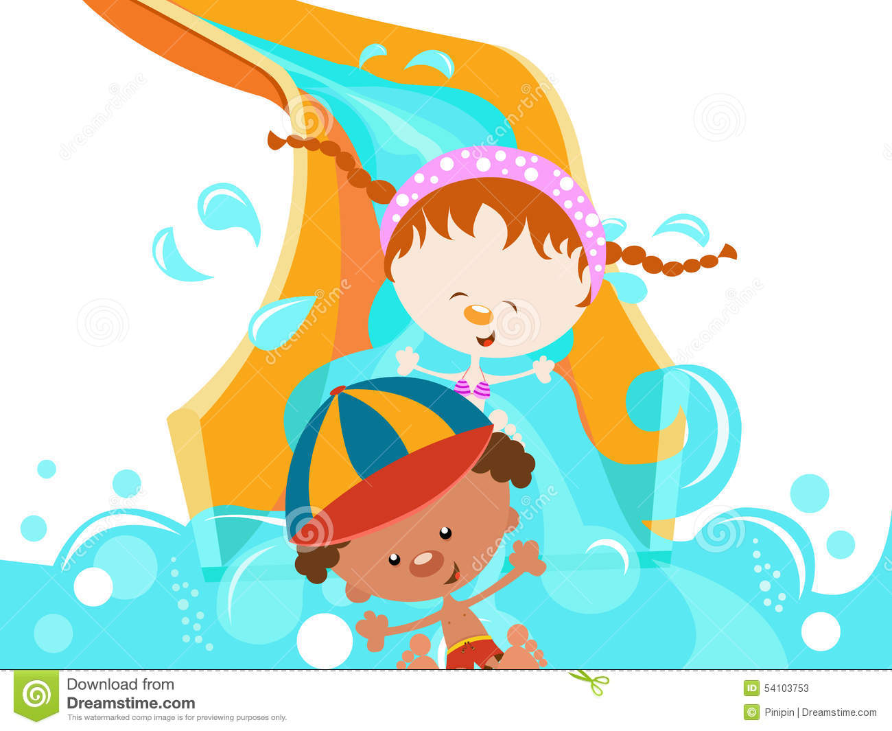 Kids Enjoying Water Slide Stock Vector - Image: 54103753