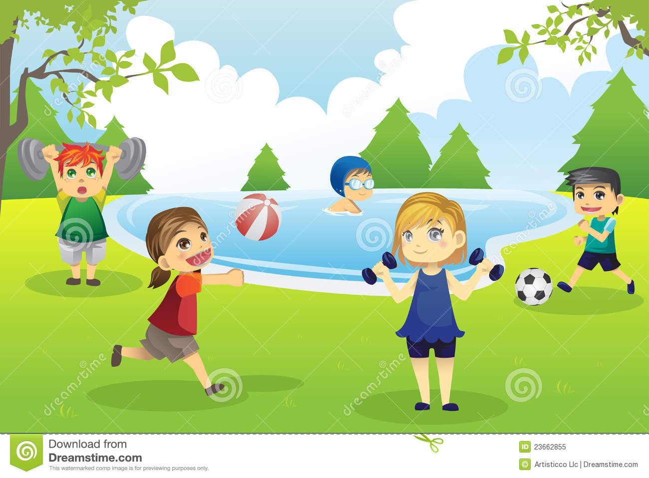 Kids Exercising In Park Royalty Free Stock Photo Image 23662855