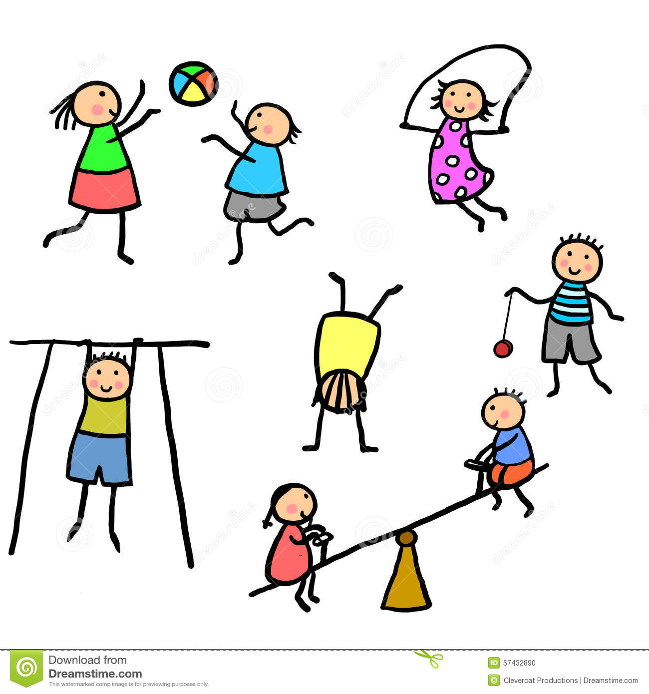 kids exercising and playing illustration stock photo - Exercise Pictures For Kids