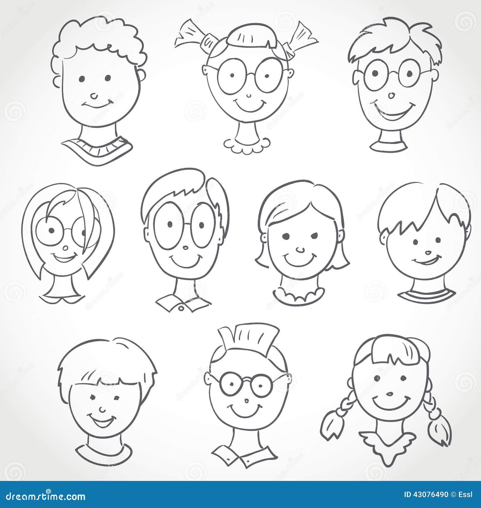 Kids Face Set Sketch Stock Vector - Image: 43076490