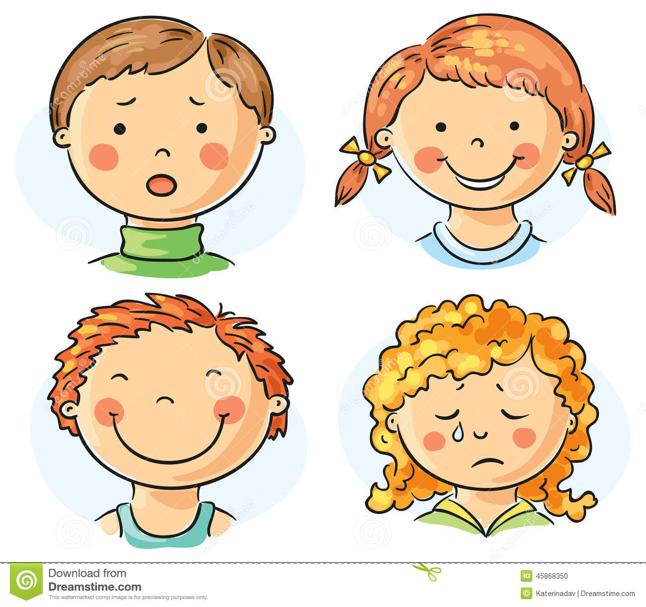 Kids faces stock vector. Illustration of happy, sketch ...