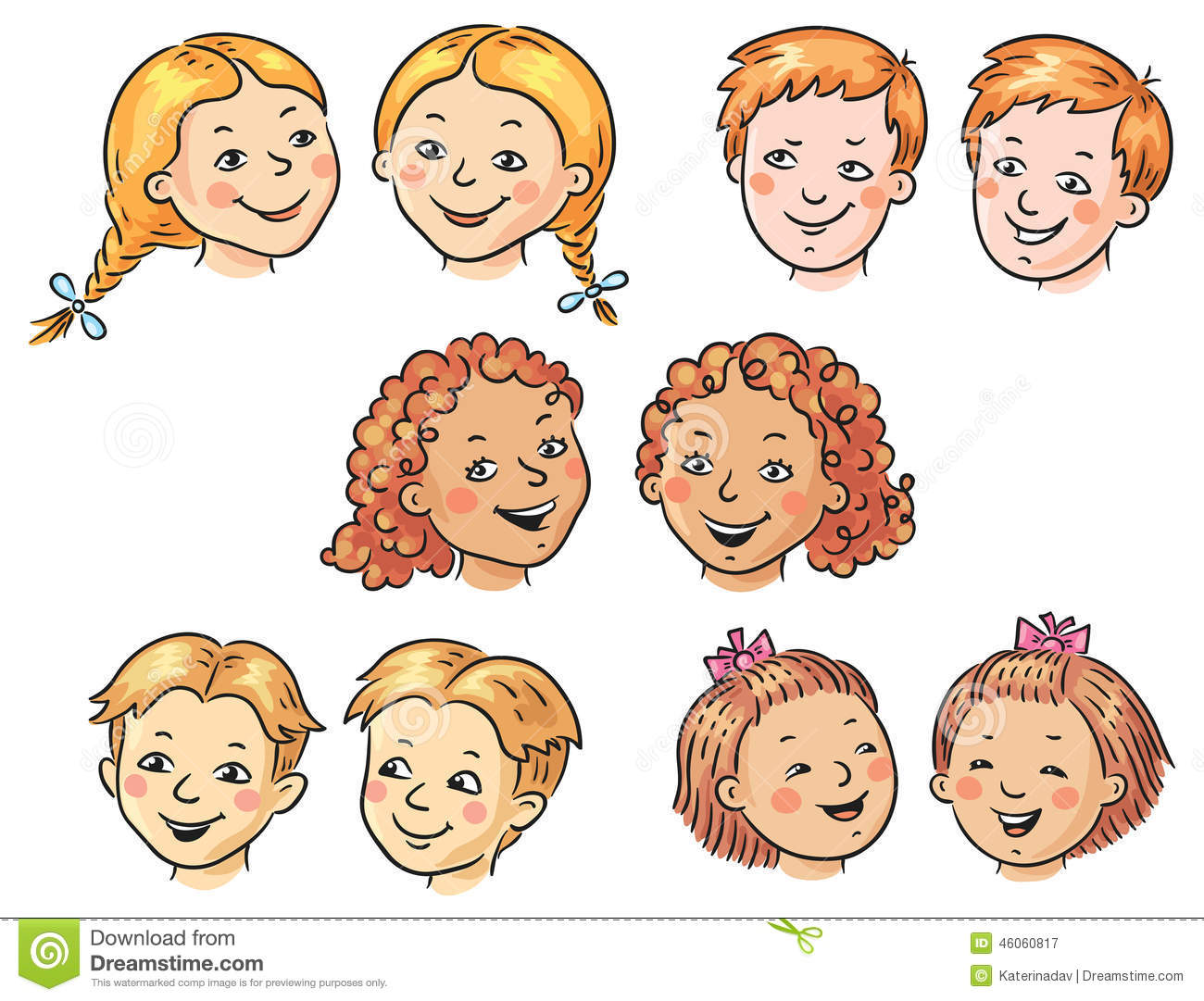 Set Of Cartoon Childrens Faces Stock Vector Art More: Kids Faces Stock Vector