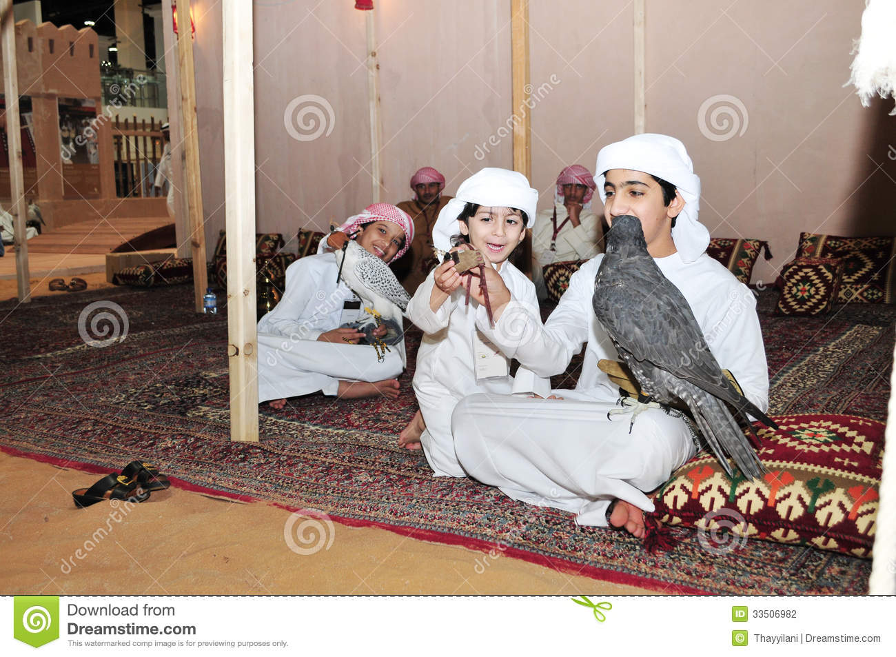 Kids With Falcon In Abu Dhabi International Hunting And