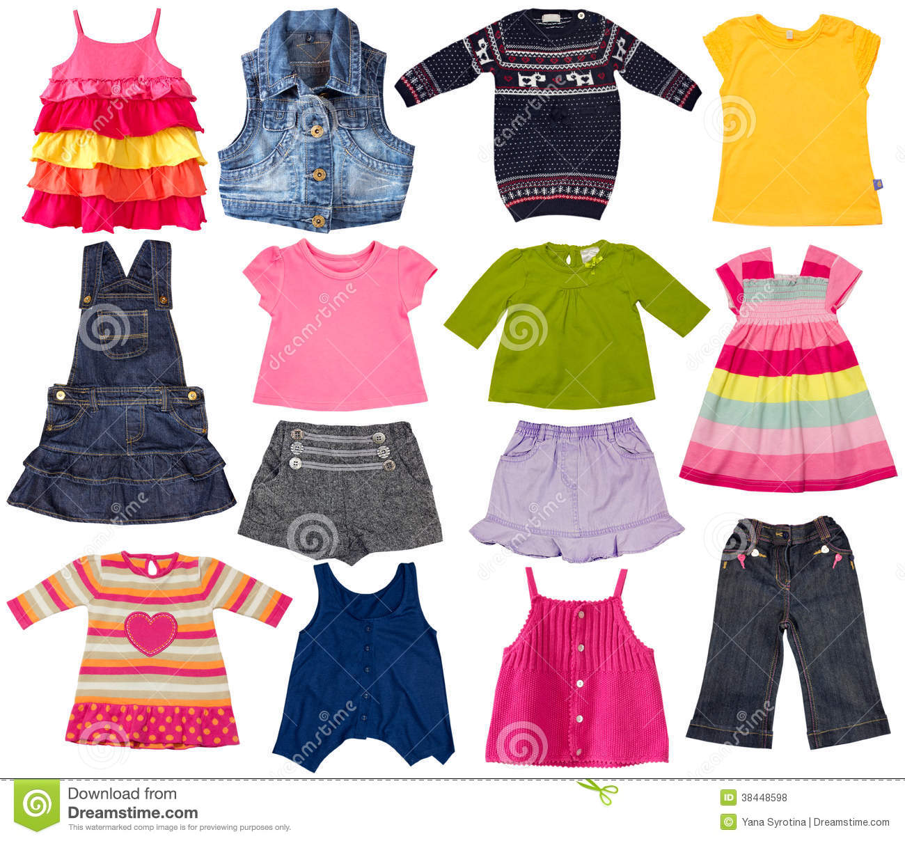 Kids Fashion Clothes Isolated On White. Royalty Free Stock Photos ...