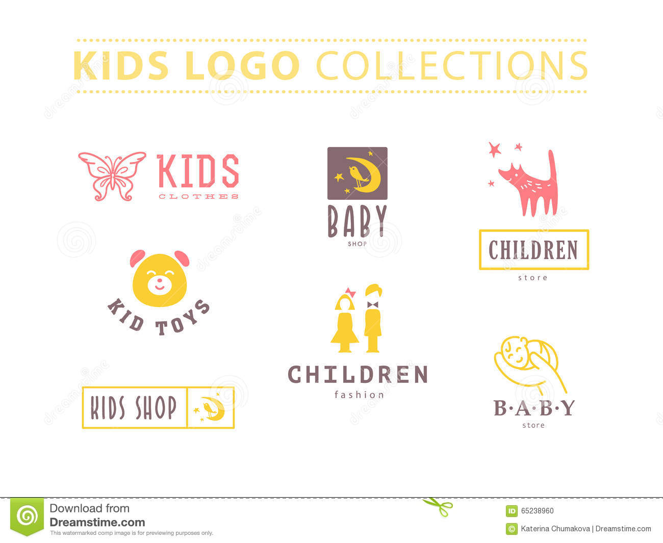 kids fashion label design stock vector illustration of