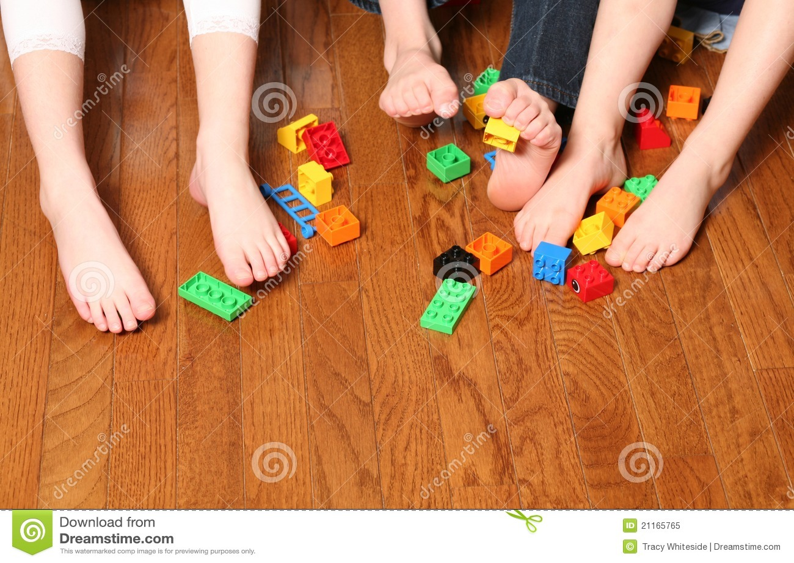Kids Feet Pickup Up Blocks Royalty Free Stock Photo