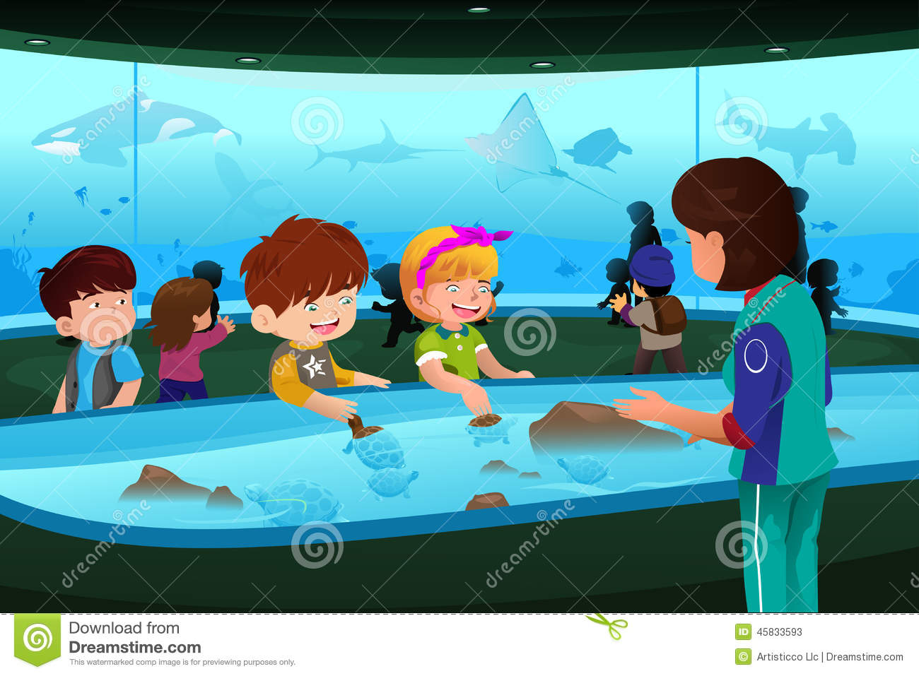 kids on field trip to aquarium stock vector image 45833593 field trip clipart art free field trip clip art backgrounds for smartboards
