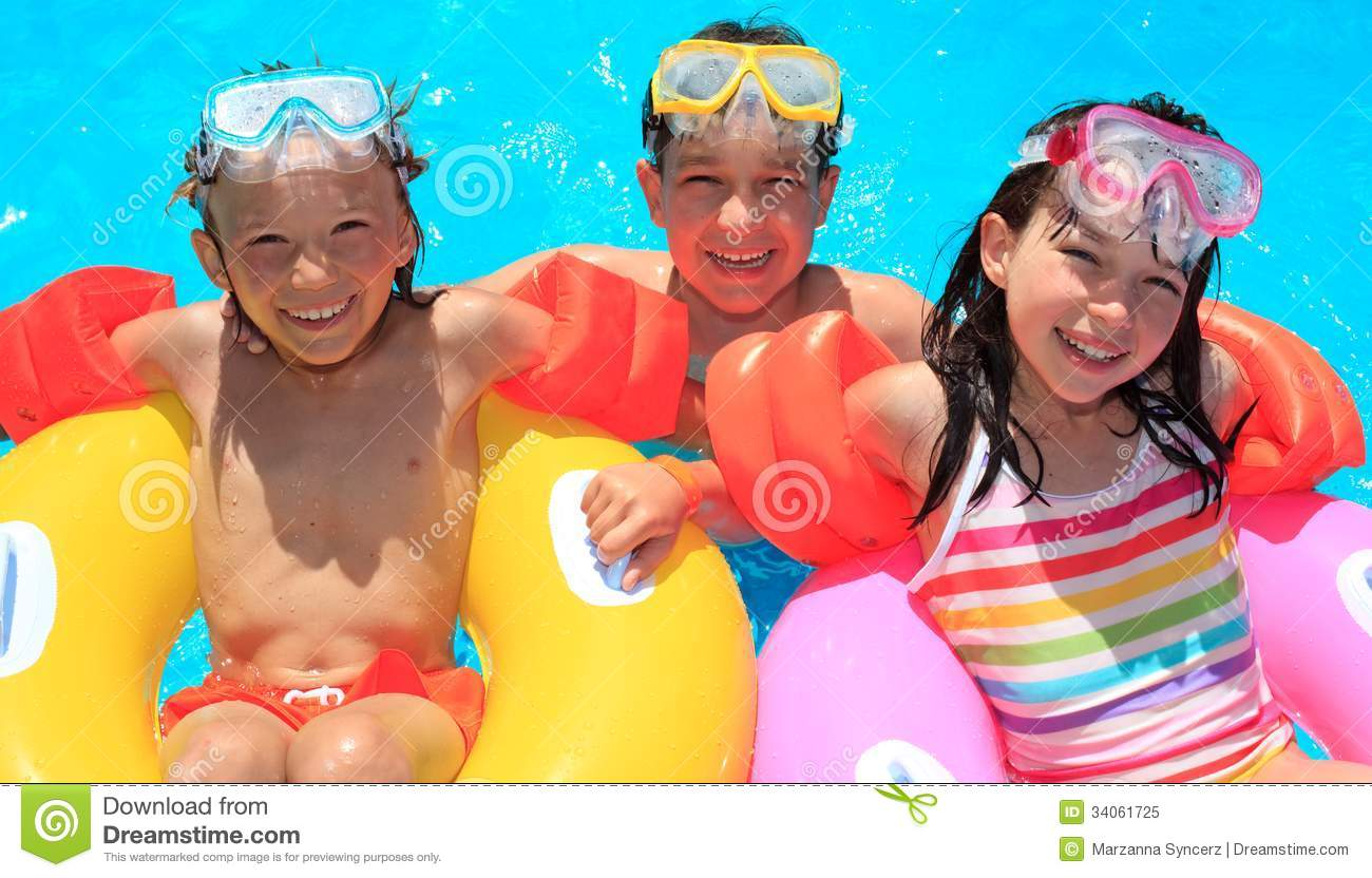 Kids Floating In Swimming Pool Royalty Free Stock Photo Image 34061725