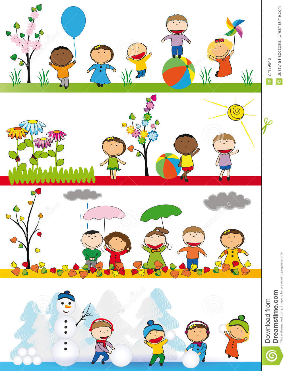 kids in four season royalty free stock image image 27179946 Windy Autumn Clip Art Fall Harvest Clip Art