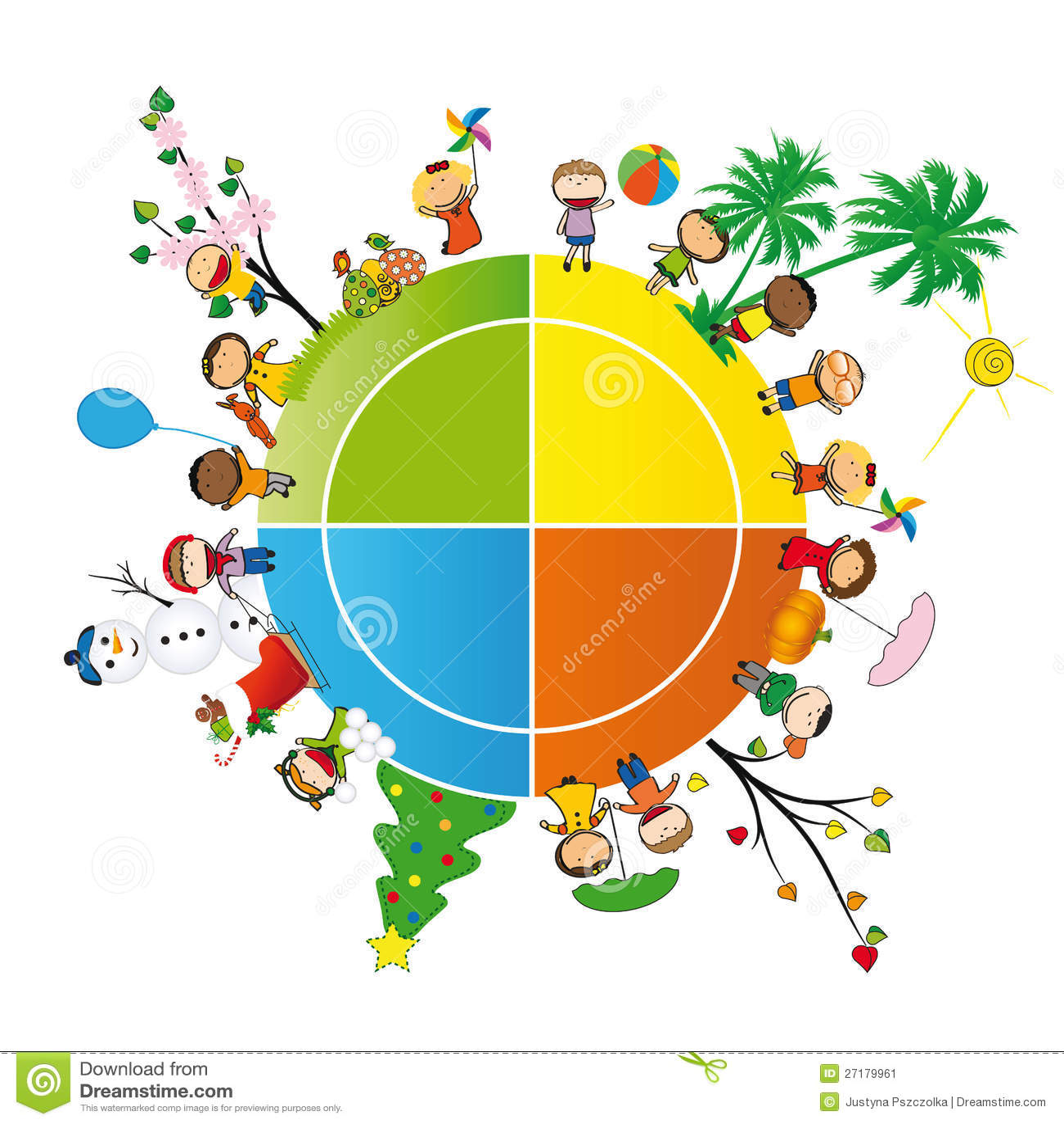 kids in four season stock vector illustration of group