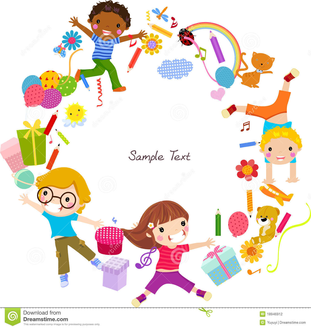 Kids and frame stock vector. Illustration of girl, small - 18946912
